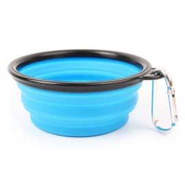 Collapsible Pet Travel Bowl Foldable Dog Cat Compact Silicone Feeding Dish Bowl Black Edge & Blue