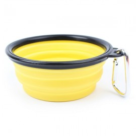Collapsible Pet Travel Bowl Foldable Dog Cat Compact Silicone Feeding Dish Bowl Black Edge & Yellow