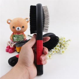 Multifunctional Portable Double Sides Pet Dog Cat Comb Long Hair Brush Massage Bathing Brush Pet Grooming Tool Black & Red S