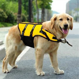 Dog Life Jacket Vest Saver Safety Swimsuit Preserver with Reflective Stripes - Yelllow & Size XS