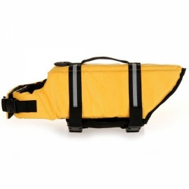 Dog Life Jacket Vest Saver Safety Swimsuit Preserver with Reflective Stripes - Yellow & Size L