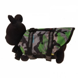 Dog Life Jacket Vest Saver Safety Swimsuit Preserver with Reflective Stripes - Green Camouflage & Size L