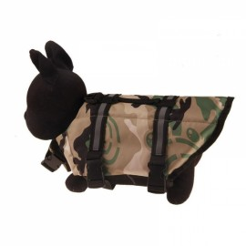 Dog Life Jacket Vest Saver Safety Swimsuit Preserver with Reflective Stripes - Sand Camouflage & Size S