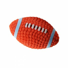 Soft Bouncing Latex Squeaky Floating Toy Fetch Throw Ball For Dog - 14cm Rugby