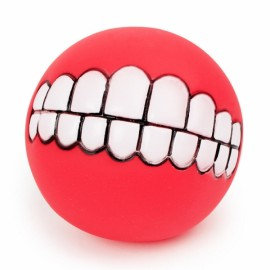 Funny Pet Dog Ball Teeth Silicon Toy Chew Squeaker Squeaky Sound Dogs Play Gnu - Red