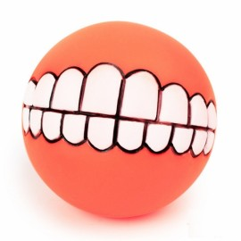 Funny Pet Dog Ball Teeth Silicon Toy Chew Squeaker Squeaky Sound Dogs Play Gnu - Orange