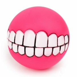Funny Pet Dog Ball Teeth Silicon Toy Chew Squeaker Squeaky Sound Dogs Play Gnu - Rose Red