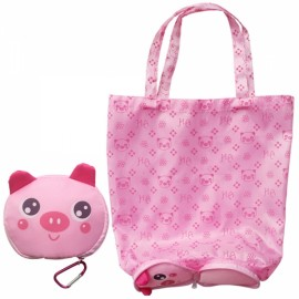 Cute Cartoon Pig Pattern Foldable Reusable Shopping Travel Bag Pouch Tote Handbag Pink