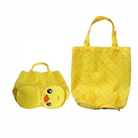 Cute Cartoon Duck Pattern Foldable Reusable Shopping Travel Bag Pouch Tote Handbag Yellow