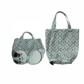 Cute Cartoon Panda Pattern Foldable Reusable Shopping Travel Bag Pouch Tote Handbag White