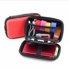 "Portable Storage Bag Multi-functional Travel Case for 2.5"" External Hard Drive & Digital Accessories Red"
