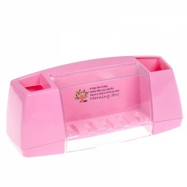 Multifunctional Toothbrush Holder Bathroom Toiletries Storage Rack Pink