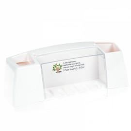 Multifunctional Toothbrush Holder Bathroom Toiletries Storage Rack White