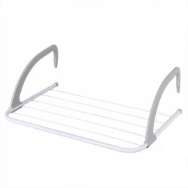 Multifunction Balcony Indoor Outdoor Telescopic Clothes Racks Foldable Clothes Hanger Gray & White