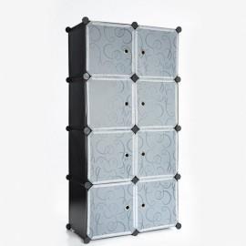Folding Simple Wardrobe-8 Cube with Full Grid Black & Transparent White