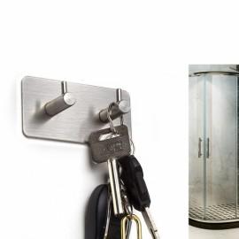 Stainless Steel Self Adhesive Sticky Wall Door Hook - Dual Hook