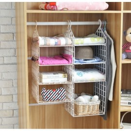 DIY Hanging Closet Organizer Plastic Folding Storage Shelving with Hook Clothes Shelf Rack Holder - 2 Small 1 Big Layers