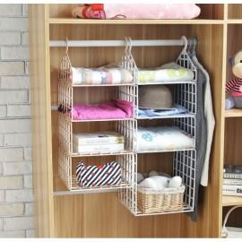 DIY Hanging Closet Organizer Plastic Folding Storage Shelving with Hook Clothes Shelf Rack Holder - 2 Small 1 Big Layers