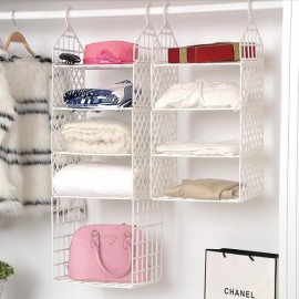 DIY Hanging Closet Organizer Plastic Folding Storage Shelving with Hook Clothes Shelf Rack Holder - 3 Small 1 Big Layers