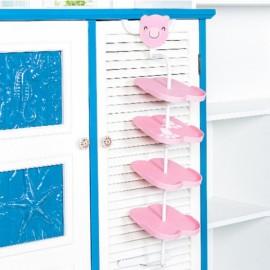 Children Cartoon Animal Pattern Hang Style Shoe Rack  - Pink Bear