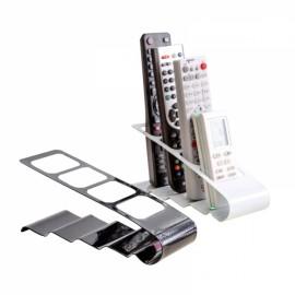 Metal Four Lattice Remote Storage Rack TV DVD VCR Step Remote Control Mobile Phone Holder - White