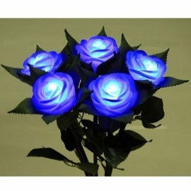 Romantic Valentine's Day Gift Luminous Rose Emulational Rose Lantern Blue