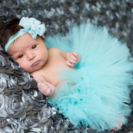 Infant Tutu Design Costume Outfit Newborn Baby Bubble Skirt Photography Props Light Blue