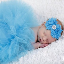 Infant Tutu Design Costume Outfit Newborn Baby Bubble Skirt Photography Props Dark Blue
