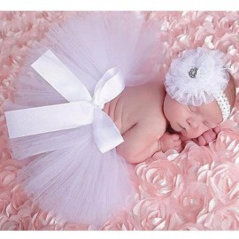 Infant Tutu Design Costume Outfit Newborn Baby Bubble Skirt Photography Props White