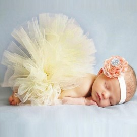 Infant Tutu Design Costume Outfit Newborn Baby Bubble Skirt Photography Props Light Yellow