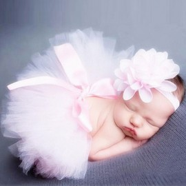 Infant Tutu Design Costume Outfit Newborn Baby Bubble Skirt Photography Props Light Pink