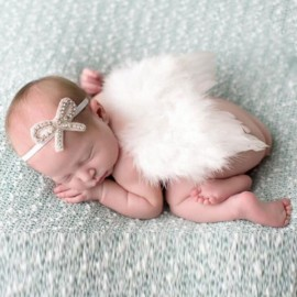 Newborn Photography Costume Props Baby Boys Girls Angel Wings + Headband Set White