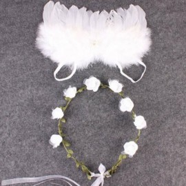 Newborn Photography Costume Props Baby Angel Butterfly Feather Wings + Garland Headband White