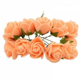 12pcs/lot Simulation Mini Rose Artificial Foam Flower Ball Garland Headdress Wedding Decoration Bridal Flowers Orange
