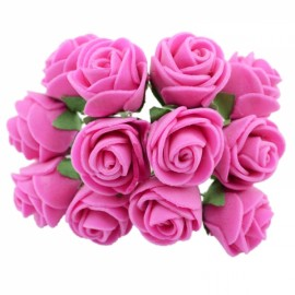 12pcs/lot Simulation Mini Rose Artificial Foam Flower Ball Garland Headdress Wedding Decoration Bridal Flowers Rose Red