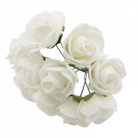 12pcs/lot Simulation Mini Rose Artificial Foam Flower Ball Garland Headdress Wedding Decoration Bridal Flowers White