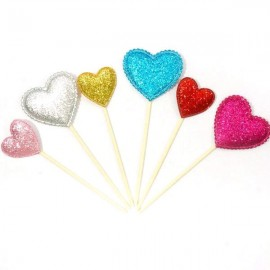 6pcs Shiny Heart Star Crown Cake Toppers Paper Cards Banner for Cupcake Wrapper Baking Cup Heart Shape