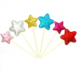 6pcs Shiny Heart Star Crown Cake Toppers Paper Cards Banner for Cupcake Wrapper Baking Cup Star Shape