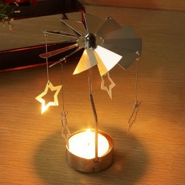 Aluminum Rotatory Spinning Carrousel Tea Light Candle Stand Holder Stars