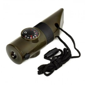 7-in-1 Multifunction Outdoor Emergency Whistle with Compass / LED Flashlight / Thermometer Army Green