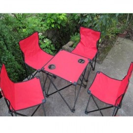 5-in-1 Leisure Outdoor Portable Canvas Folding Table and Chair Set Red