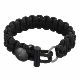 FURA 3-in-1 Outdoor Military-Spec 550 9-Cord Parachute Rope Bracelet with Knife & Fire Starter & Metal Button Black