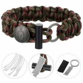 FURA 3-in-1 Outdoor Military-Spec 550 9-Cord Parachute Rope Bracelet with Knife & Fire Starter & Metal Button Jungle Camouflage