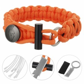 FURA 3-in-1 Outdoor Military-Spec 550 9-Cord Parachute Rope Bracelet with Knife & Fire Starter & Metal Button Orange