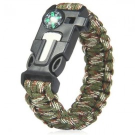 5-in-1 Outdoor Survival Parachute Cord Bracelet Flint / Whistle / Compass / Scraper Army Green Camouflage