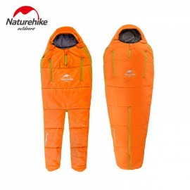 Naturehike 210 x 80 x 50cm Human-shaped Portable Warm Cotton Filling Sleeping Bag for Camping Home Orange