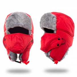 Unisex Russian Faux Fur Pilot Trapper Bomber Cap Outdoor Ski Ear Protective Hat With Mouth Mask Red
