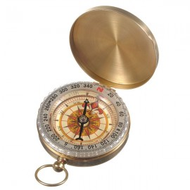 Outdoor Camping Hiking Compass Brass Survival Pocket Compass with Luminous Vintage
