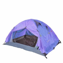 Outdoor Camping 2 Person Tent Double Layers PU 4000 Waterproof Rainproof Canopy Purple