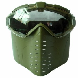 Anti-Fog Ventilated Tactical Airsoft Electric Full Face Mask Gas Mask Army Green